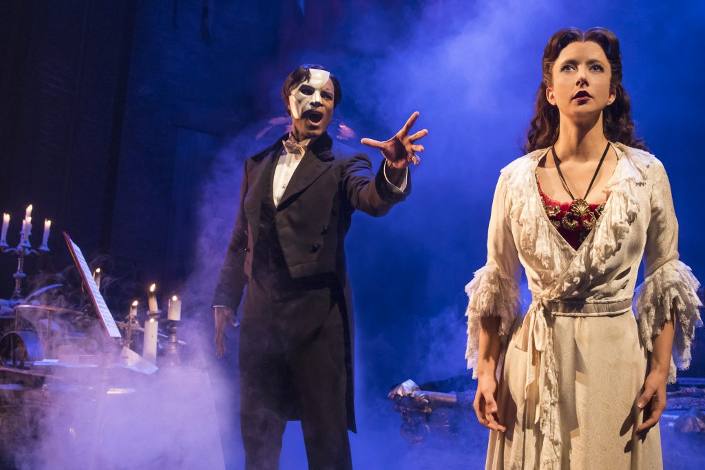 (From L) Derrick Davis as The Phantom and Katie Travis as Christine Daaé in the Broadway Sacramento