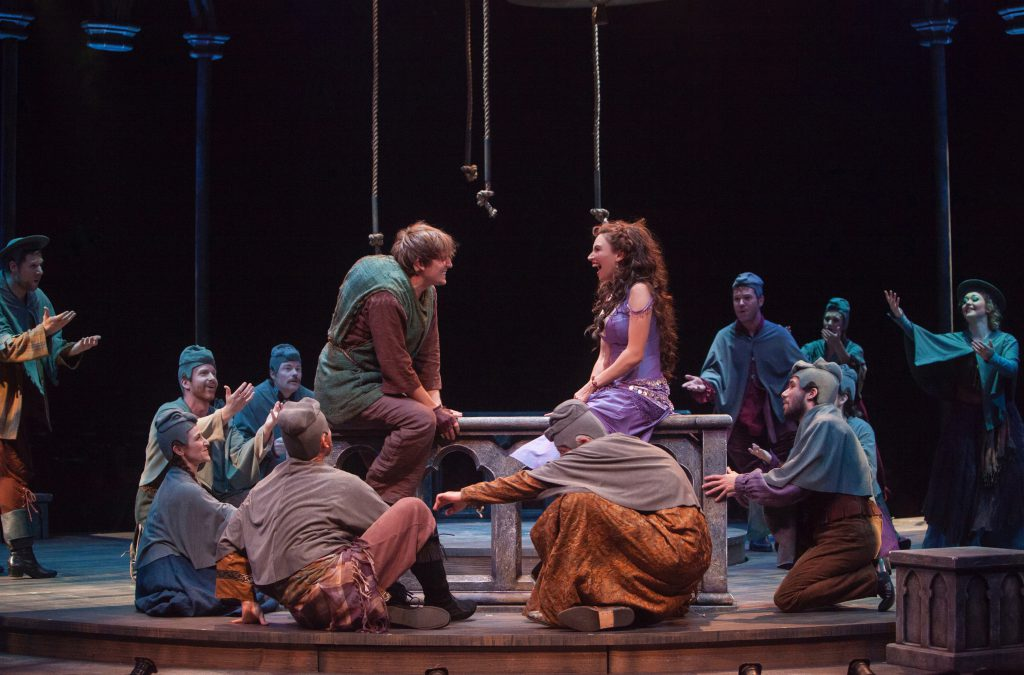 (L to R) John McGinty as Quasimodo and Lesli Margherita as Esmeralda in The Hunchback of Notre Dame, produced by Music Circus at the Wells Fargo Pavilion in 2016. Photo by Charr Crail.