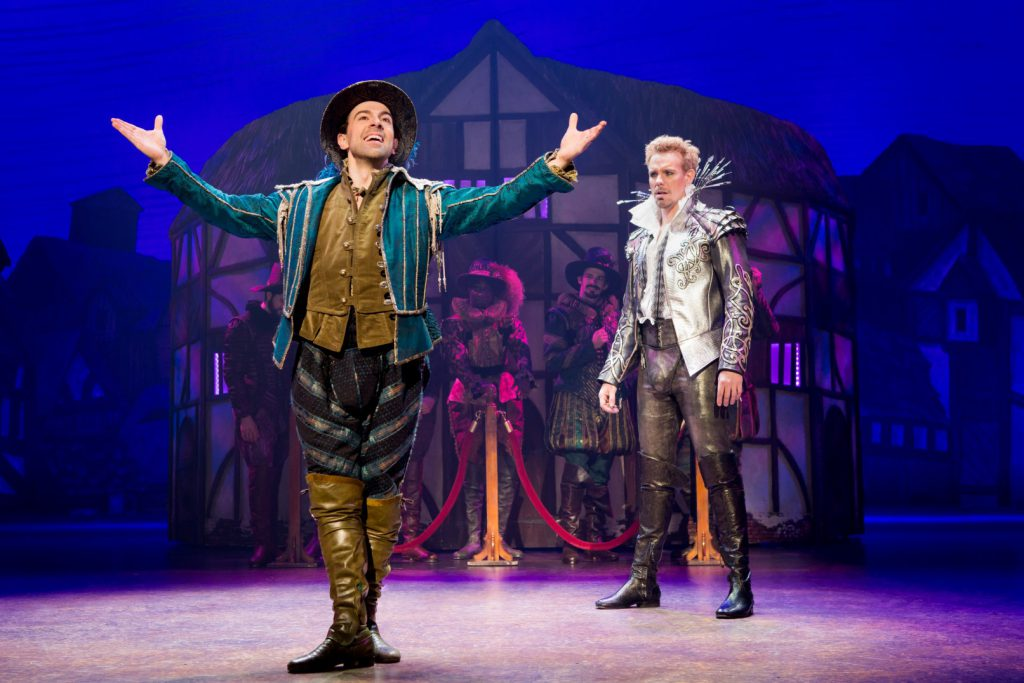 (L to R) Rob McClure, Adam Pascal and the cast of Something Rotten! presented by Broadway Sacramento