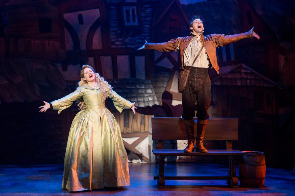Autumn Hurlbert and Josh Grisetti in Something Rotten! presented by Broadway Sacramento at the Commu
