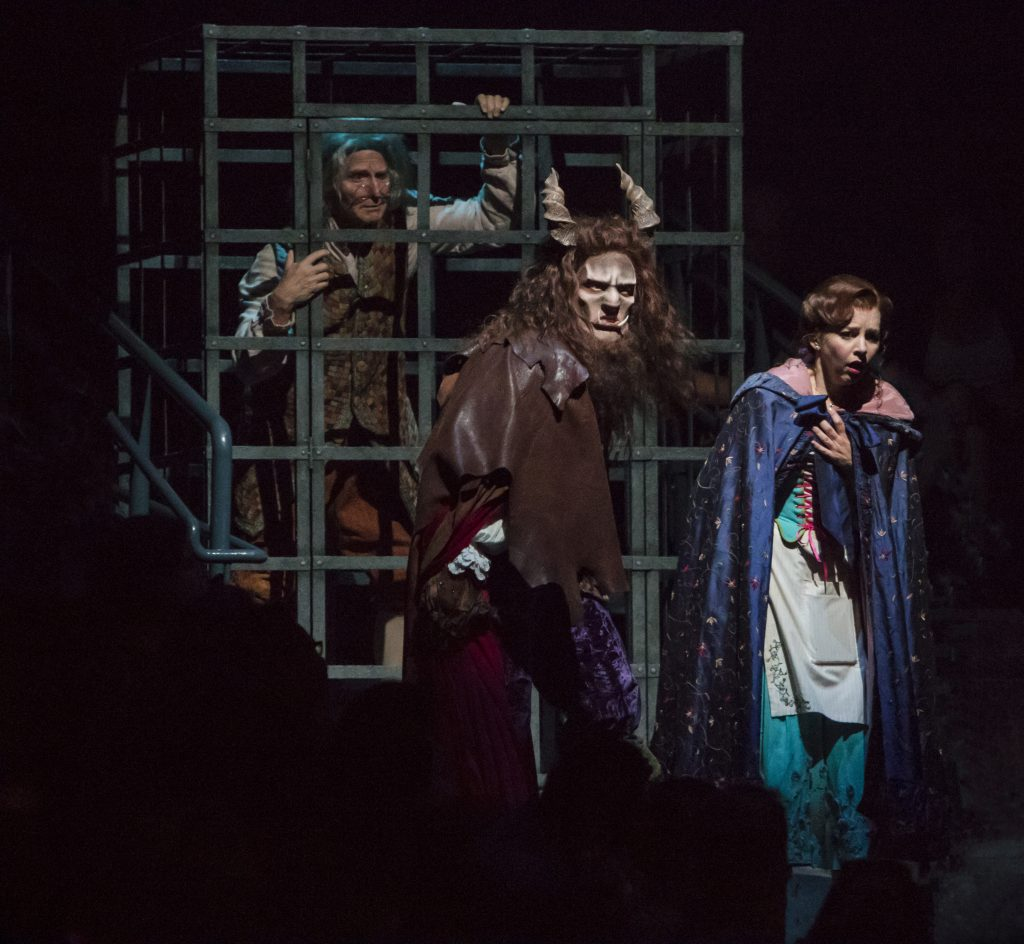 (from L to R) Gordon Goodman as Maurice, James Synder as Beast and Jessica Grové as Belle in Disney'