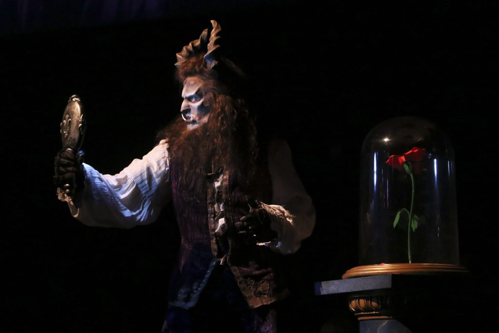 James Snyder as Beast in Disney's Beauty and the Beast, produced by Music Circus at the Wells Fargo