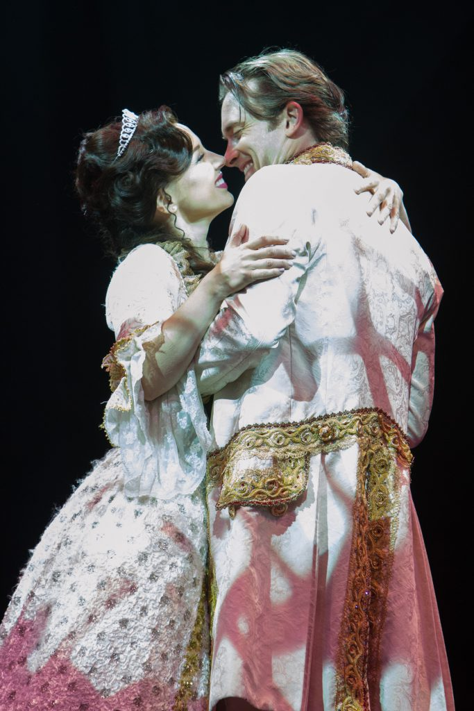 Jessica Grové as Belle and James Snyder as the Prince in Disney's Beauty and the Beast, produced by