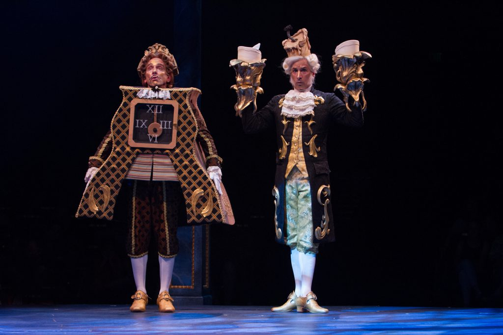 David Hibbard as Cogsworth and Michael Paternostro as Lumiere in Disney's Beauty and the Beast, prod