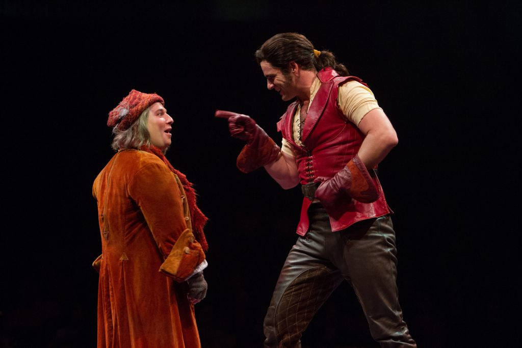 Jared Gertner as Le Fou and Peter Saide as Gaston in Disney's Beauty and the Beast, produced by Musi