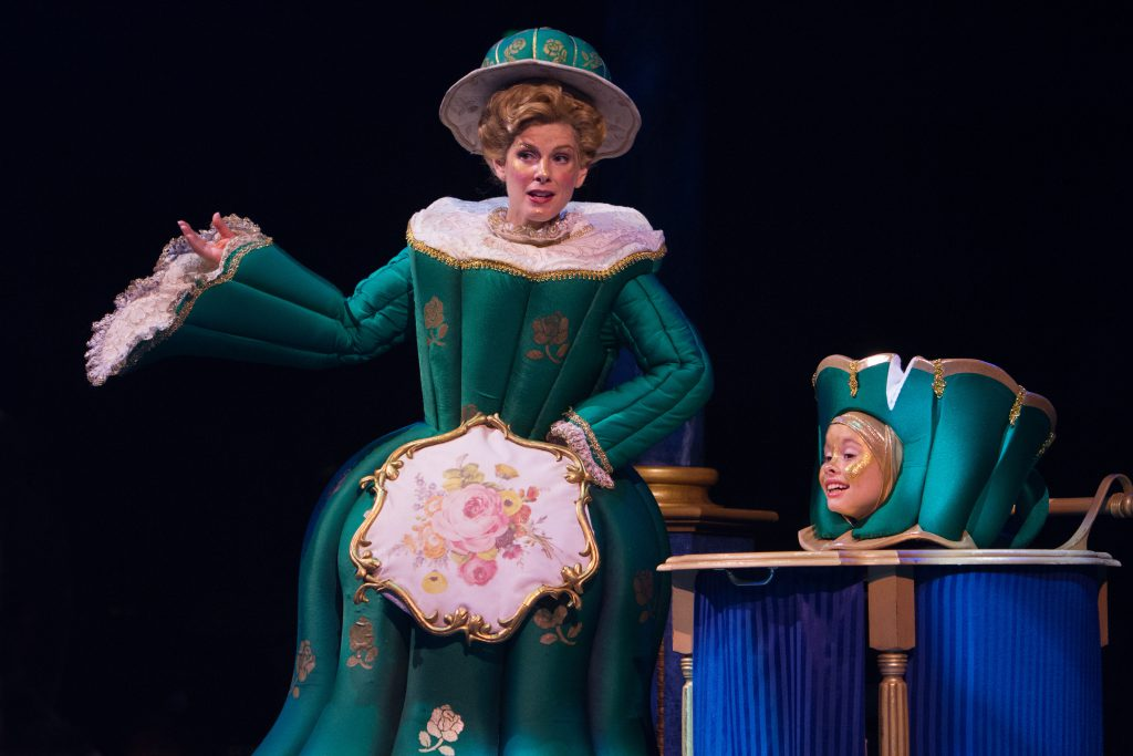 Shannon Warne as Mrs. Potts and Mia Fisher as Chip in Disney's Beauty and the Beast, produced by Mus