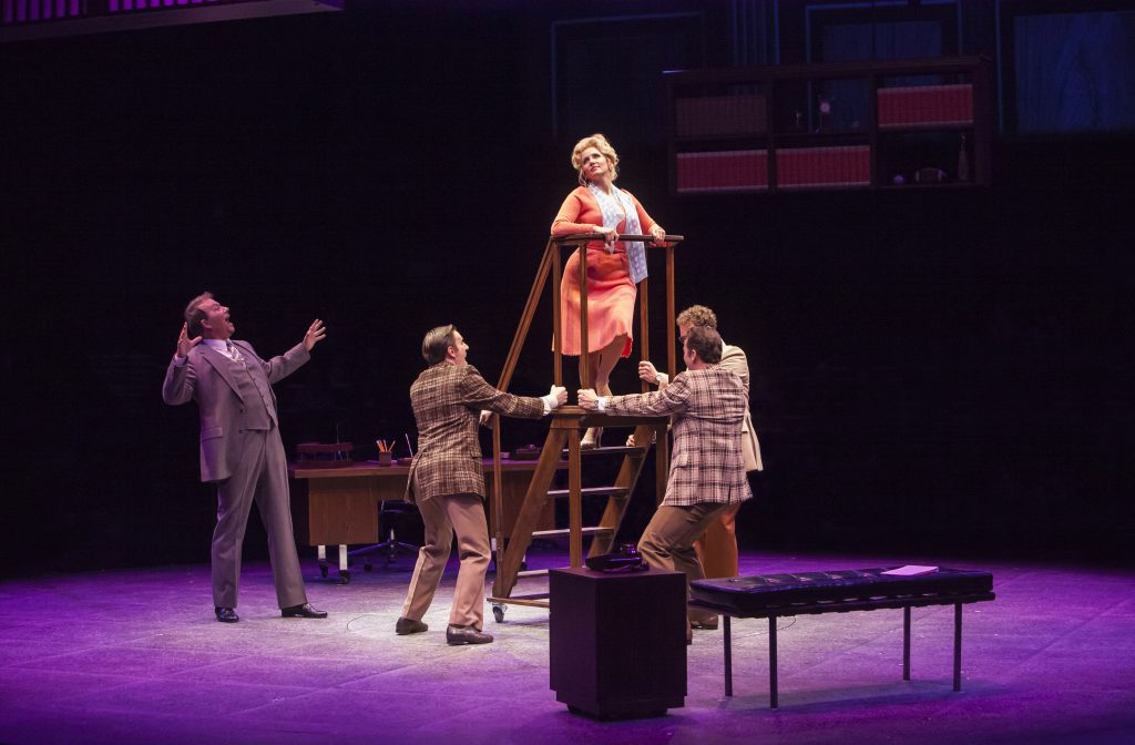 Paul Schoeffler as Franklin Hart Jr, Tricia Paoluccio as Doralee Rhodes and company in 9 to 5, The M