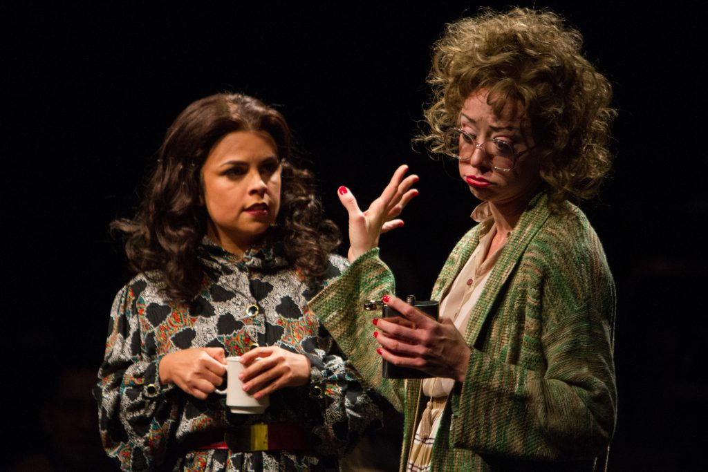 Ixchel Cuellar as Maria and Karen Hyland as Margaret in 9 to 5, The Musical produced by Music Circus