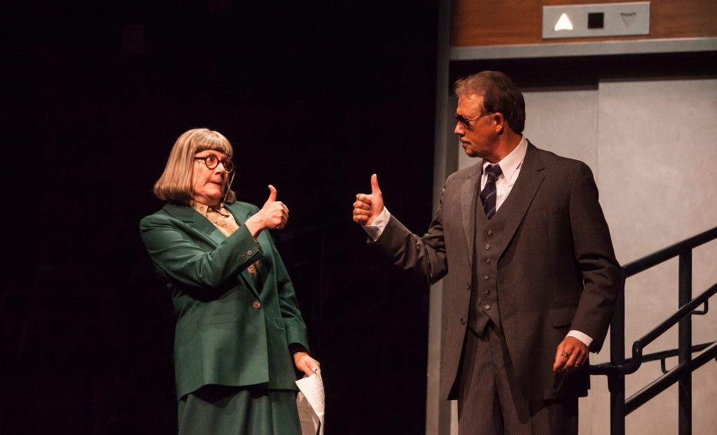 Kristine Zbornick as Roz Keith and Paul Schoeffler as Franklin Hart Jr in 9 to 5, The Musical produc