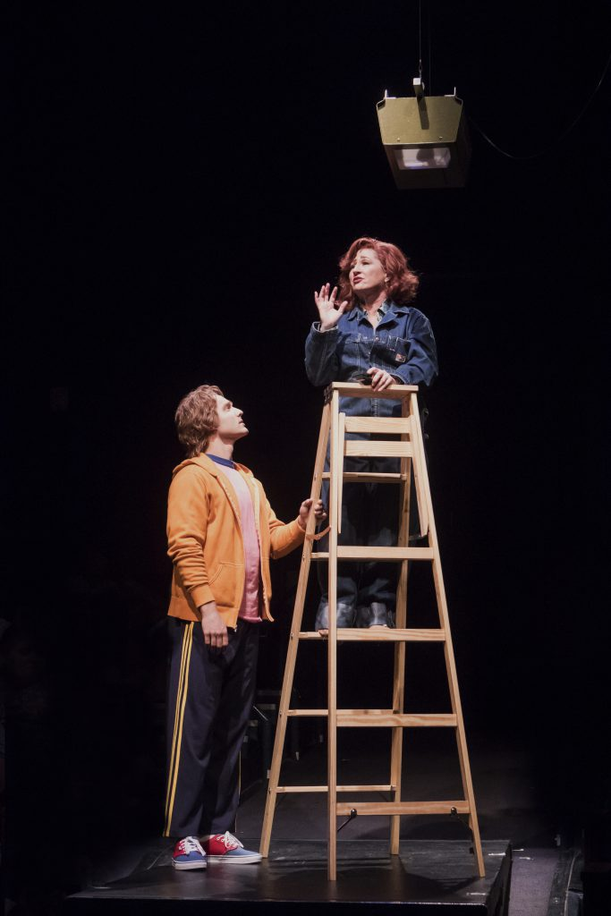Connor Wince as Josh and Vicki Lewis as Violet Newstead in 9 to 5, The Musical produced by Music Cir