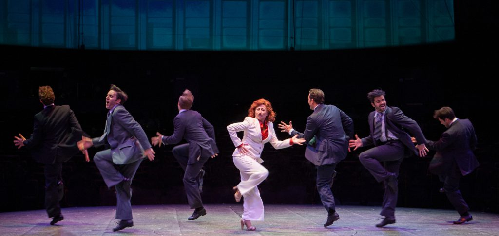 Vicki Lewis as Violet Newstead and company in 9 to 5, The Musical produced by Music Circus at the Wells Fargo Pavilion in 2017. Photo by Kevin Graft.