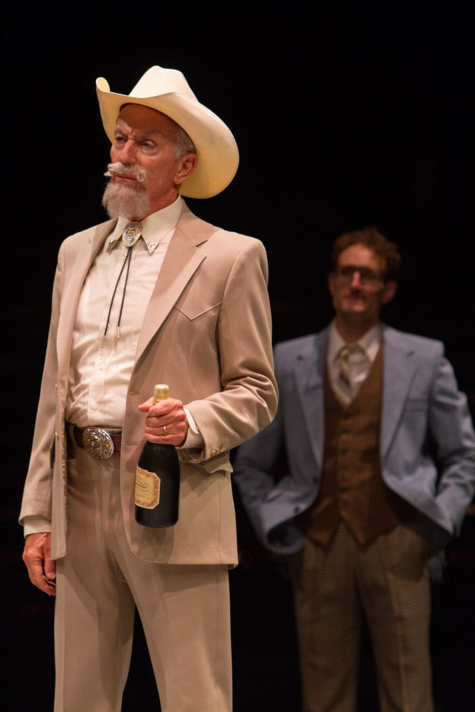Doug Carfrae as Tinsworthy and Adam Lendermon as Bob Enright in 9 to 5, The Musical produced by Musi