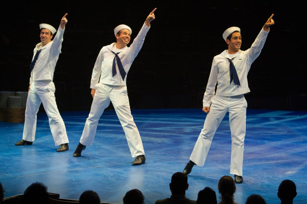 Clyde Alves as Ozzie, Matt Loehr as Chip and Sam Lips as Gabey in On the Town, produced by Music Cir