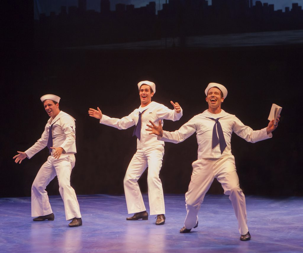 Clyde Alves as Ozzie, Sam Lips as Gabey and Matt Loehr as Chip in On the Town, produced by Music Cir