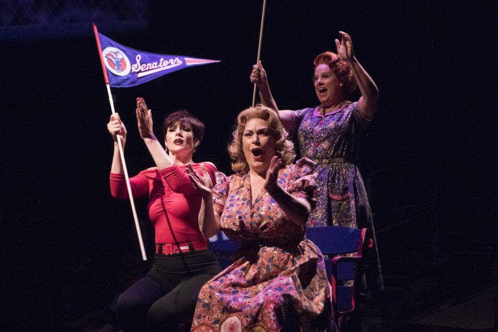 Lindsay Roginski as Lola, Mary Jo Mecca as Sister and Kim Arnett as Doris in Damn Yankees produced b