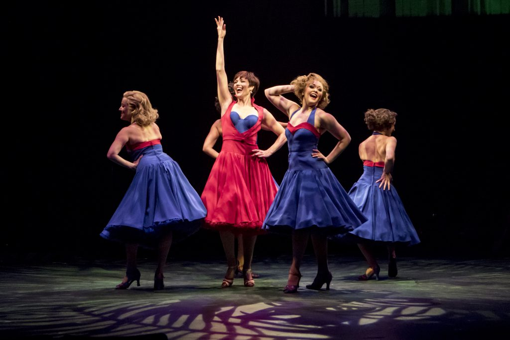 Lindsay Roginski as Lola and the company of Damn Yankees produced by Music Circus at the Wells Fargo