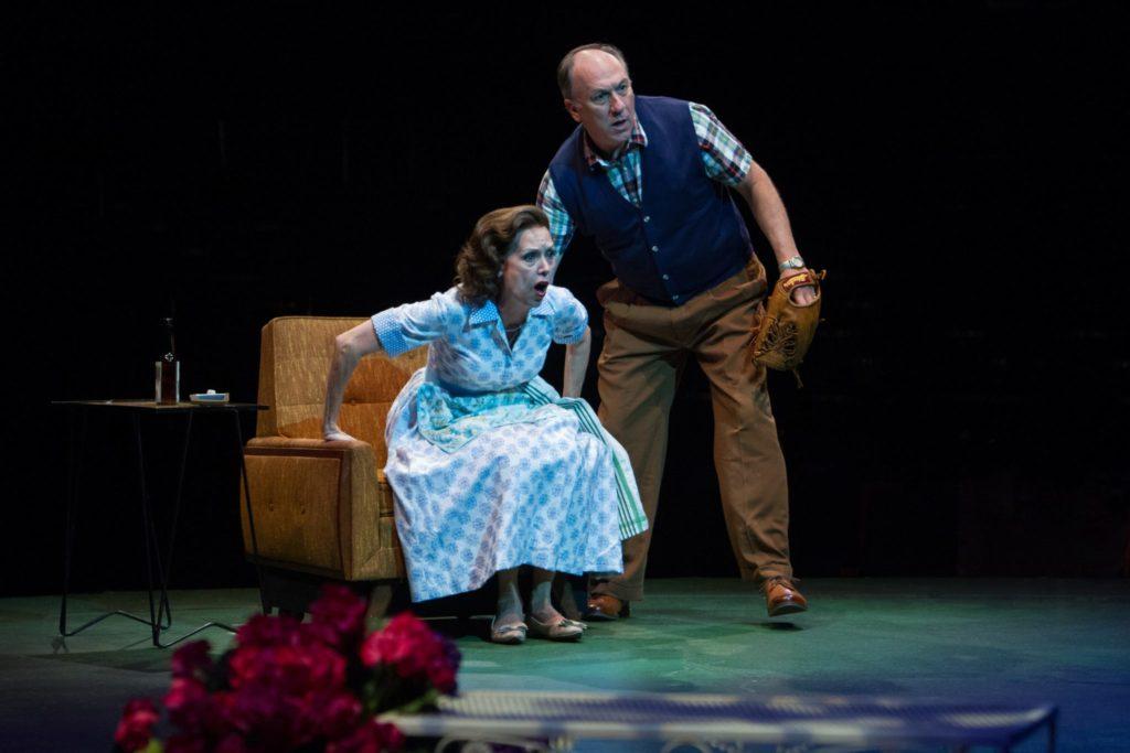 Lynne Wintersteller as Meg Boyd and Jeff Howell as Joe Boyd in Damn Yankees produced by Music Circus