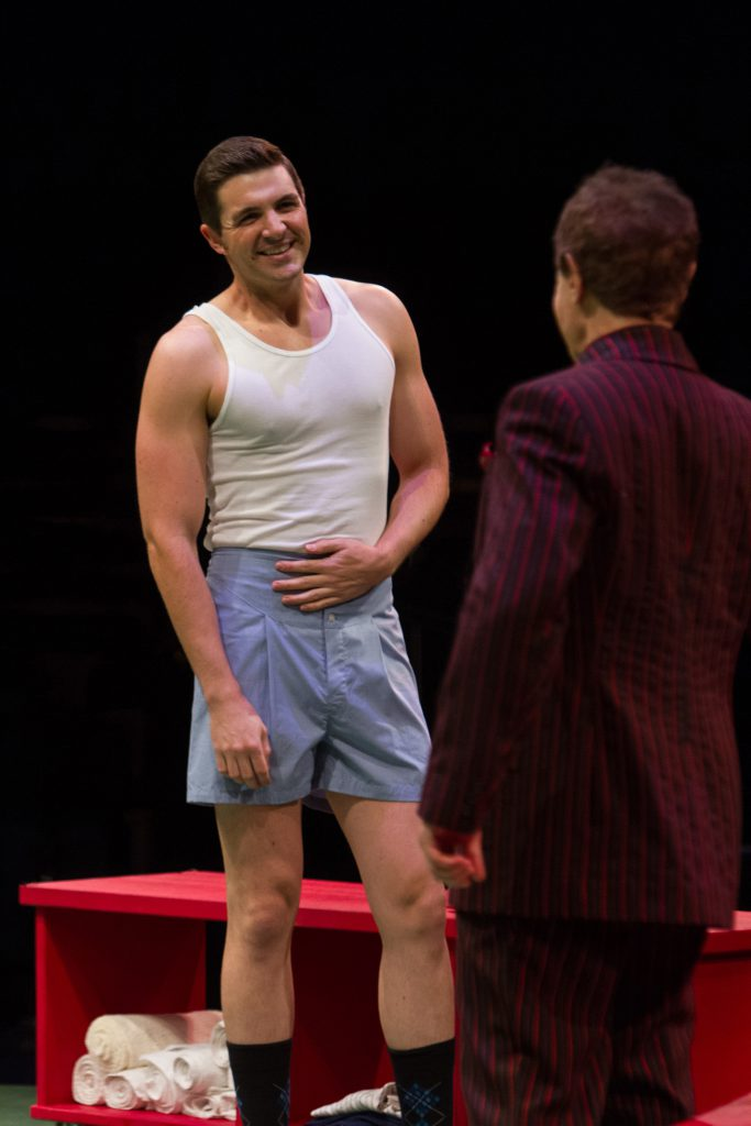 Zach Trimmer as Joe Hardy and Jason Graae as Mr. Applegate in Damn Yankees produced by Music Circus