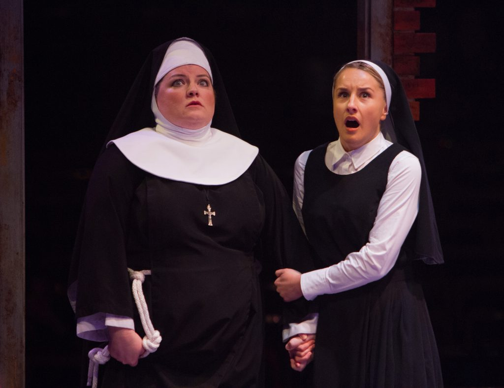 Nikki Switzer as Mary Patrick and Jeanna De Waal as Mary Robert in Sister Act produced by Music Circ