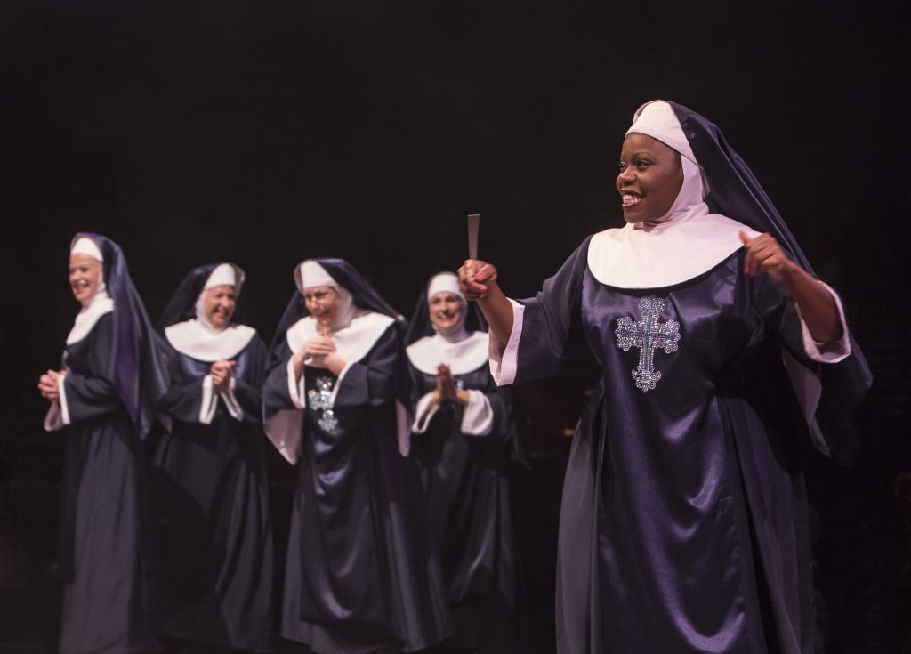 Zonya Love as Deloris Van Cartier and the company of Sister Act produced by Music Circus at the Well
