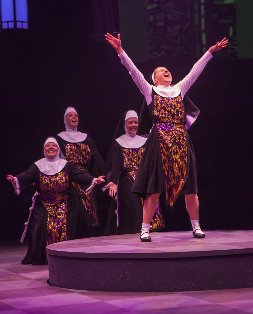 Jeanna De Waal as Mary Robert and the company of Sister Act produced by Music Circus at the Wells Fa