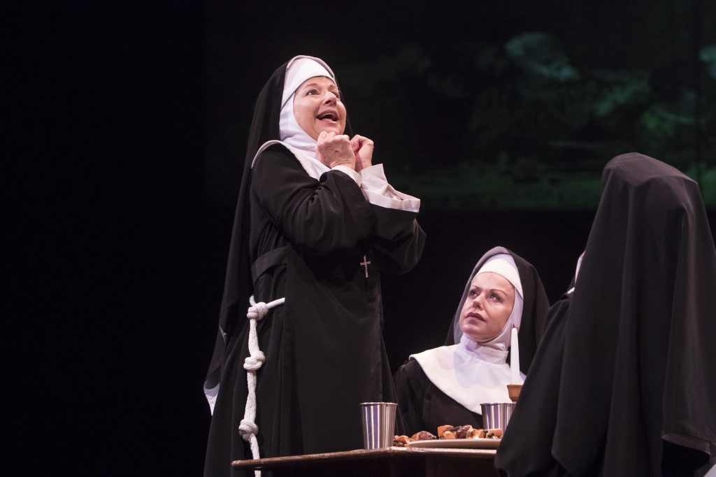 Linda Griffin as Mary Martin-of-Tours and Kathryn Mowat Murphy in Sister Act produced by Music Circu