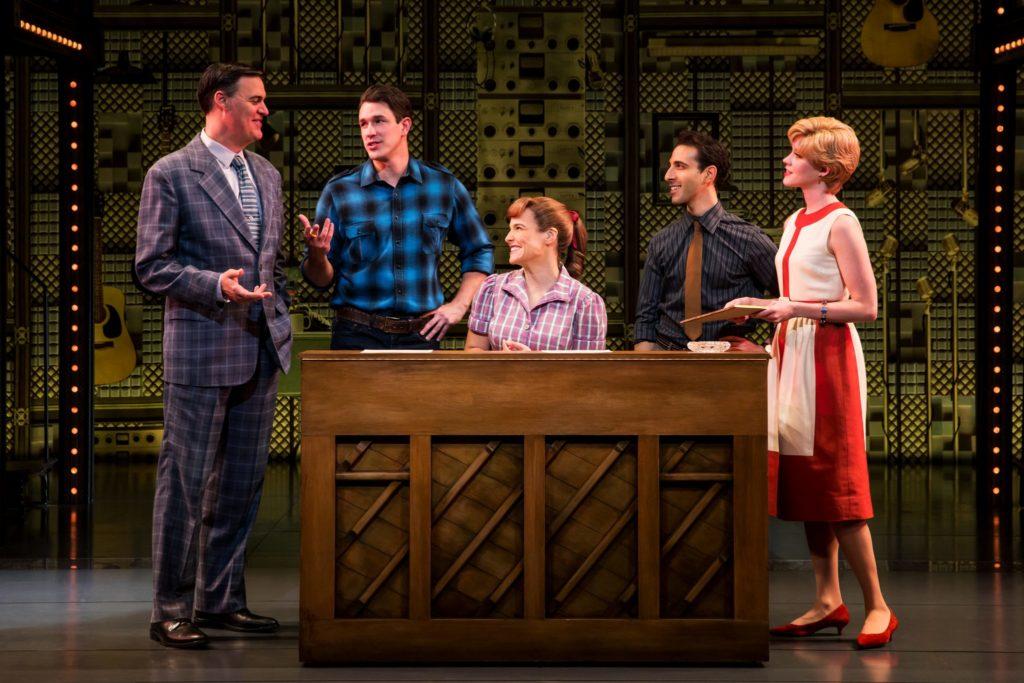 (L to R) James Clow as Don Kirshner, Andrew Brewer as Gerry Goffin, Sarah Bockel as Carole King, Jac