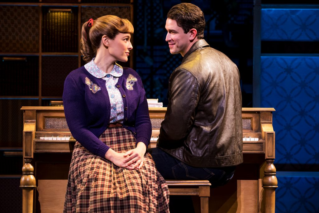 Sarah Bockel as Carole King and Andrew Brewer as Gerry Goffin in the Broadway Sacramento presentatio