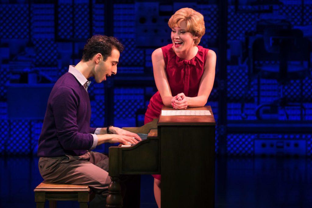 Jacob Heimer as Barry Mann and Sarah Goeke as Cynthia Weil in the Broadway Sacramento presentation o