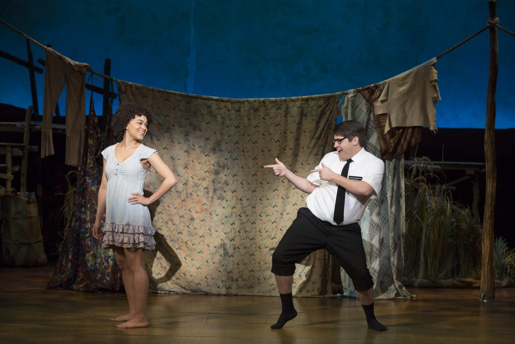 "Kim Exum and Conner Peirsonin the Broadway Sacramento presentation of ""The Book of Mormon"" at the Co"