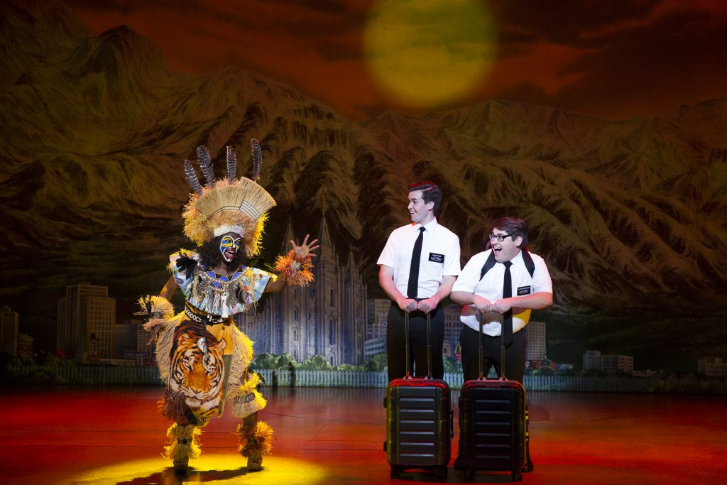 """Monica L. Patton, Kevin Clay and Conner Peirson in the Broadway Sacramento presentation of """"The Book"""