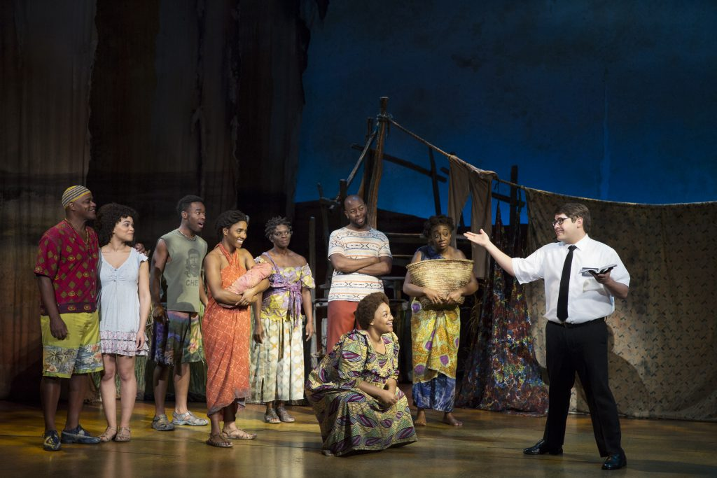 """The company of """"The Book of Mormon"""" presented by Broadway Sacramento at the Community Center Theater"""