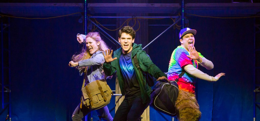 Kristin Stokes, Chris McCarrell and George Salazar from the off-Broadway company of THE LIGHTNING THIEF: THE PERCY JACKSON MUSICAL presented by Broadway On Tour at the Sacramento Community Center Theater Apr. 19-21, 2019. Photo by Jeremy Daniels.