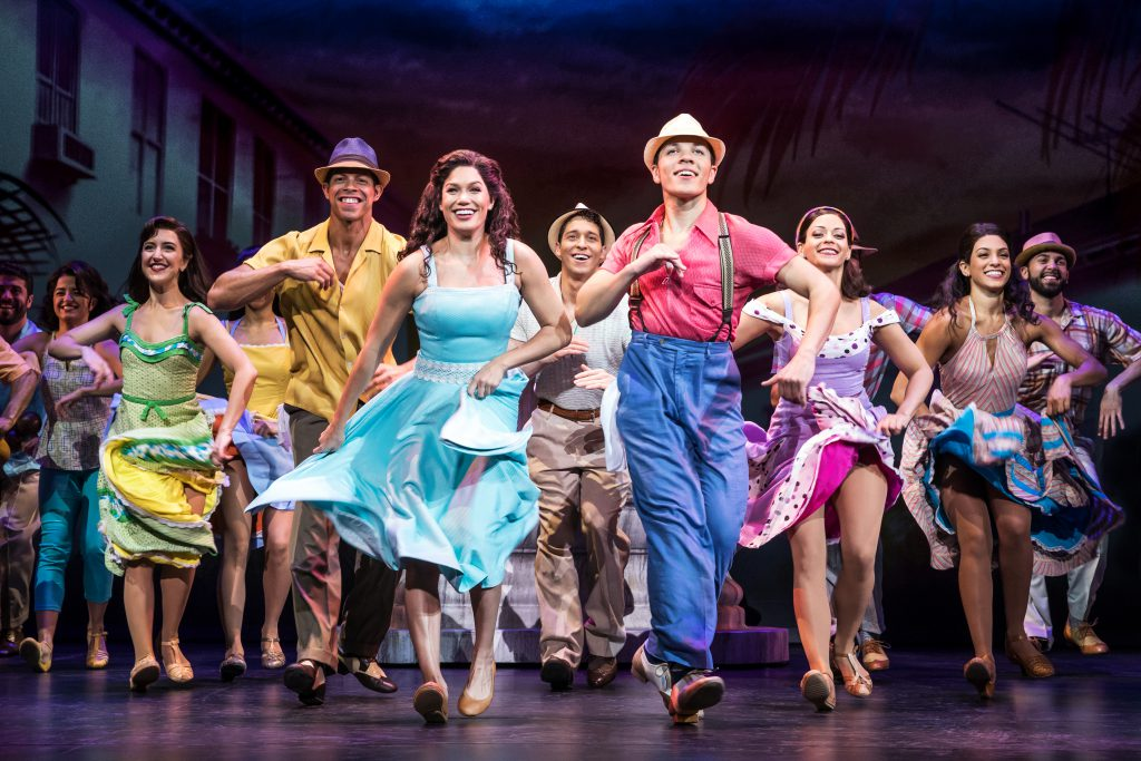 Christie Prades as Gloria Estefan, Adriel Flete and the company of the Broadway On Tour presentation of ON YOUR FEET! Oct. 30 – Nov. 4, 2018 at the Sacramento Community Center Theater. Photo by Matthew Murphy.