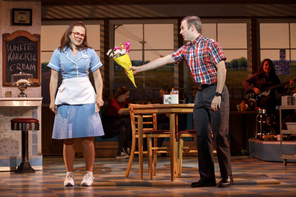 Lenne Klingaman and Jeremy Morse in the Broadway On Tour presentation of WAITRESS at the Sacramento Community Center Theater Dec. 27, 2018 – Jan. 5, 2019. Photo by Joan Marcus.
