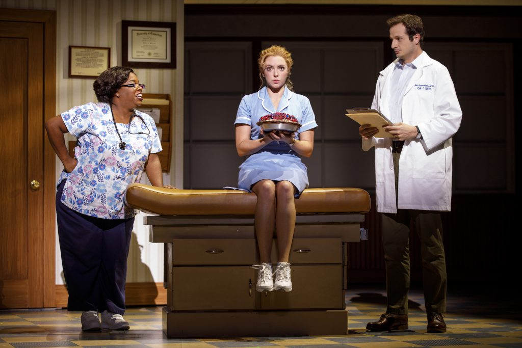 Maiesha McQueen, Desi Oakley and Bryan Fenkart in the Broadway On Tour presentation of WAITRESS at the Sacramento Community Center Theater Dec. 27, 2018 – Jan. 5, 2019. Photo by Joan Marcus.