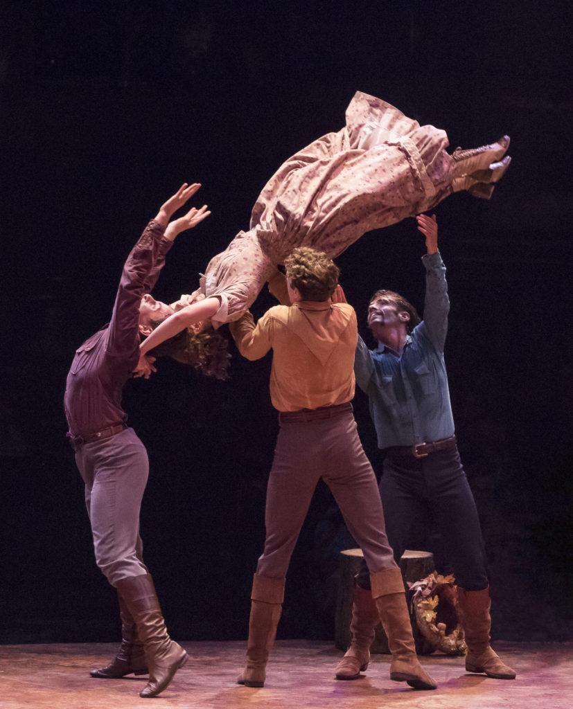 (from L to R) Joshua Michael Burrage as Ephraim Pontipee, Jamie Pfaff as Liza, Graham Keen as Caleb