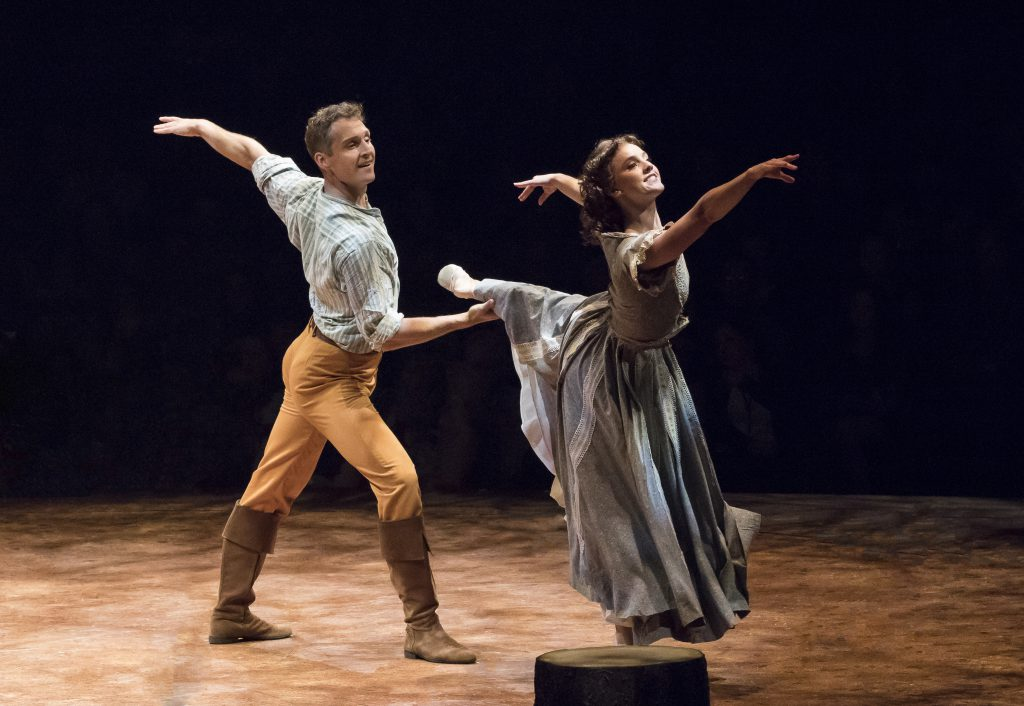 (from L to R) Brian Steven Shaw as Daniel Pontipee and Jamie Pfaff as Liza in SEVEN BRIDES FOR SEVEN