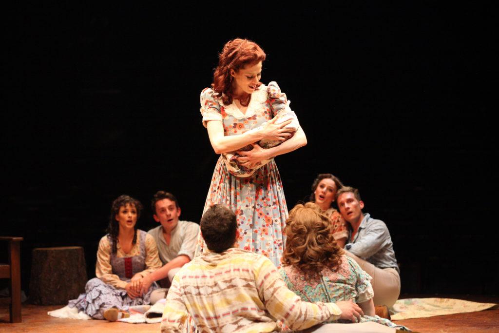 (from L to R) Elyse Niederee as Martha, Joshua Michael Burrage as Ephraim Pontipee, Paige Faure as M