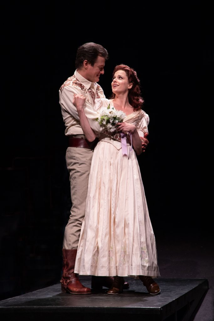 (from L to R) Edward Watts as Adam Pontipee and Paige Faure as Milly in SEVEN BRIDES FOR SEVEN BROTH