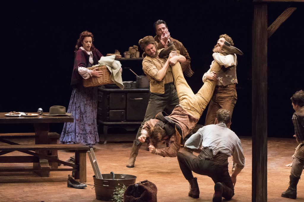 (from L to R) Paige Faure as Milly, Eric Stretch as Benjamin Pontipee, Edward Watts as Adam Pontipee