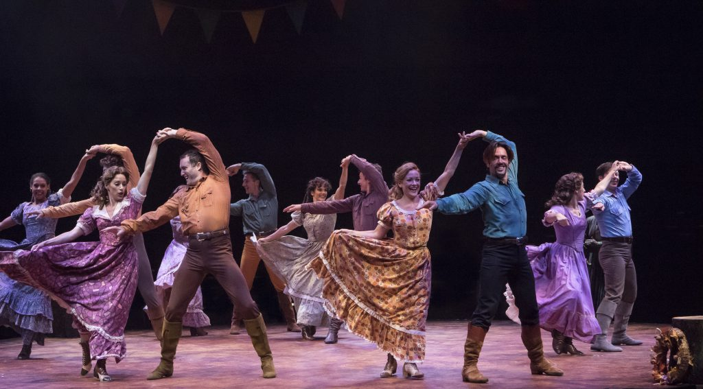 The Brides and The Brothers in SEVEN BRIDES FOR SEVEN BROTHERS, produced by Broadway At Music Circus