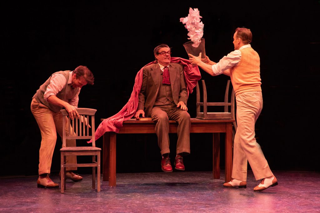 (from L to R) Matt Loehr as Cosmo Brown, Stuart Marland as Diction Teacher and Noah Racey as Don Loc