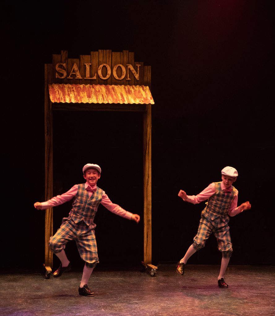 (from L to R) Michael Stark as Young Cosmo and Luke Lowe as Young Don in SINGIN' IN THE RAIN, produc