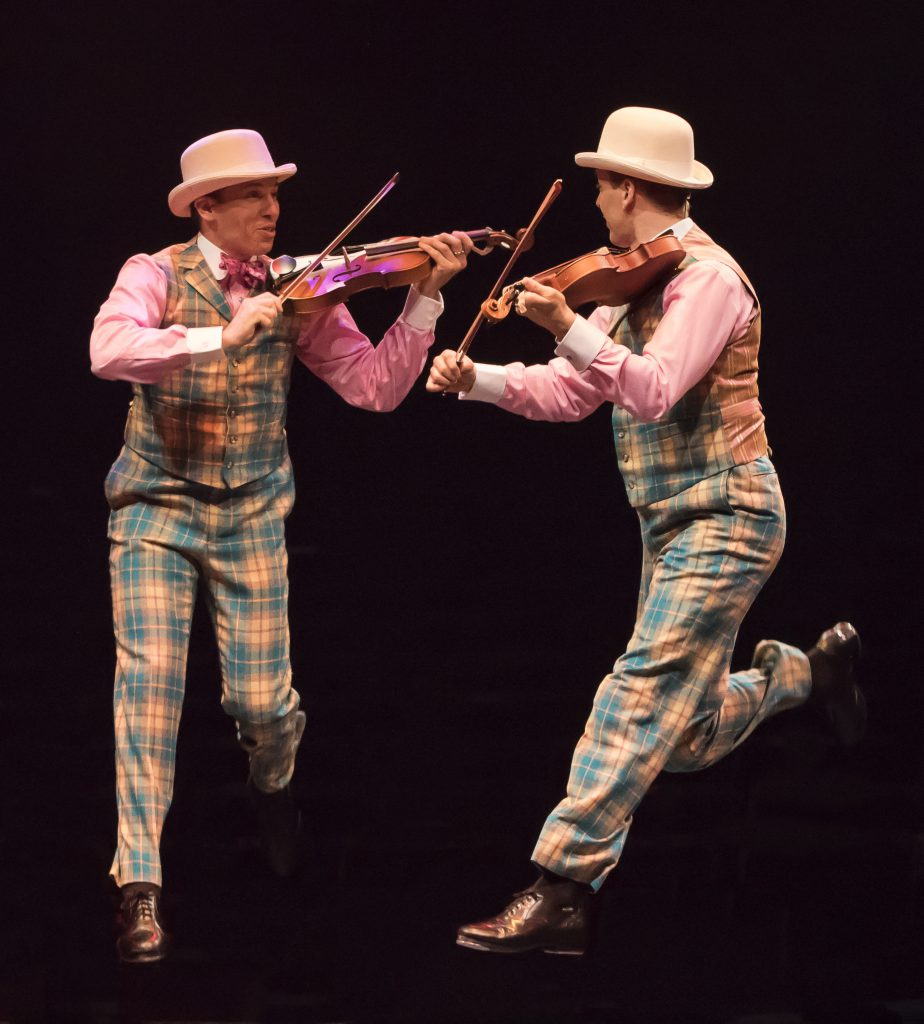 (from L to R) Matt Loehr as Cosmo Brown and Noah Racey as Don Lockwood in SINGIN' IN THE RAIN, produ