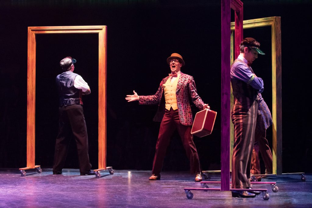 (from L to R) Stuart Marland, Noah Racey as Don Lockwood and J.D. Daw in SINGIN' IN THE RAIN, produc