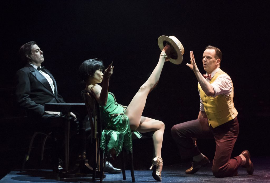 (from L to R) Stuart Marland, Kristine Bendul as Woman in Green Dress and Noah Racey as Don Lockwood