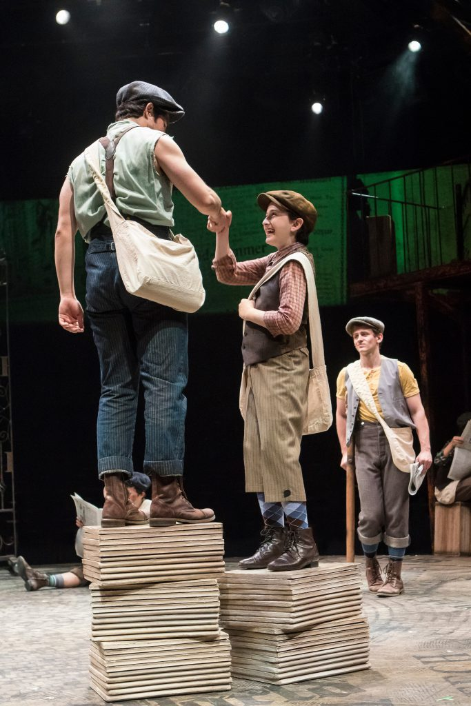 (from L to R) Joey Barreiro as Jack Kelly, Josh Davis as Les and Blake Stadnik as Crutchie in DISNEY