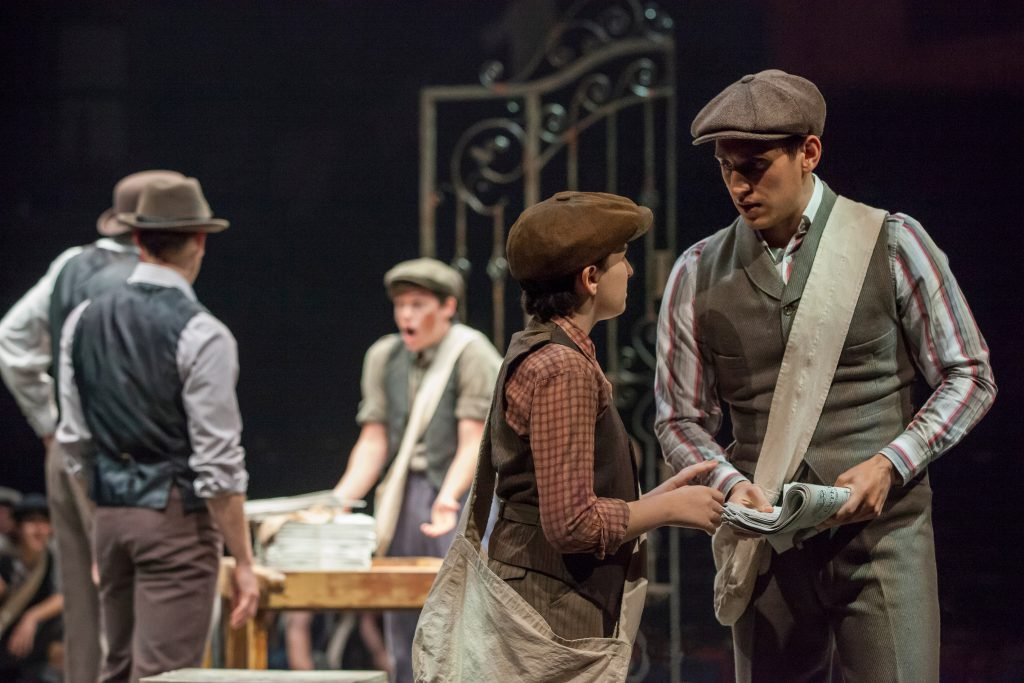 (from L to R) Josh Davis as Les and John Krause as Davey with the Company of DISNEY'S NEWSIES, produ