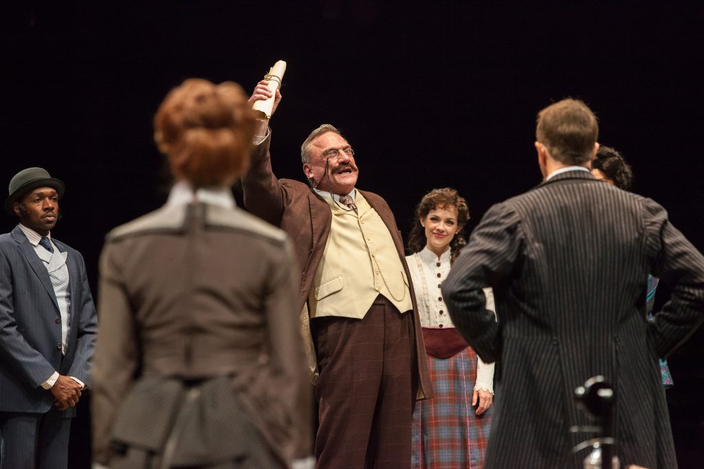 (from L to R) Ramone Owens as Seitz, Amy Bodnar as Hannah, Ron Wisniski as Governor Roosevelt, Lauri